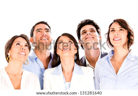 Business group looking up for inspiration - isolated over white background - stock photo
