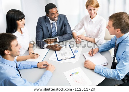 Business group meeting portrait - Five business people working together. A diverse work group. - stock photo
