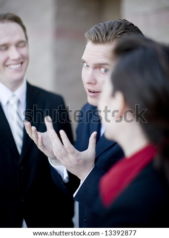 business group of men and woman have small discussion - stock photo