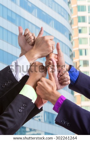 Business group people hands together with teamwork concept. - stock photo
