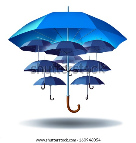 Business group protection and community security concept with a giant blue umbrella metaphor protecting multiple smaller umbrellas connected together in a social network to protect team members. - stock photo