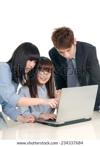 Business group working at office, smiling - stock photo