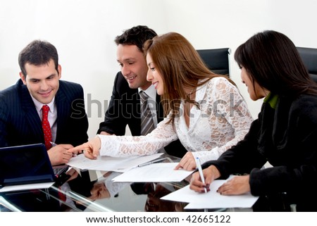 business group working isolated over a white background