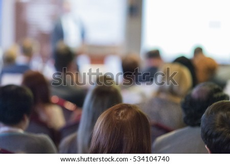 Business Groups and People Concepts and Ideas. Group of People Attending Conference and Listening to the Host.Horizontal Image