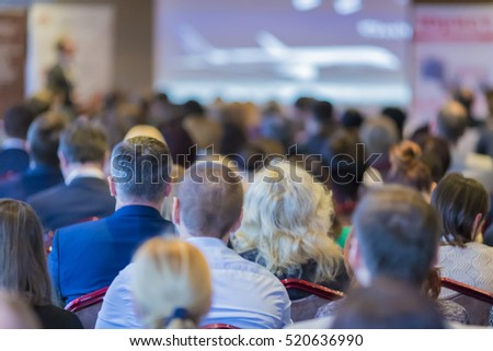 Business Groups and People. Group of People Attending Conference and Listening to the Host.Horizontal Image Composition