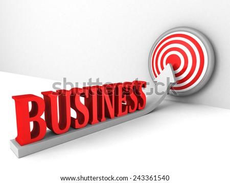 business growing up success target arrow. concept 3d render illustration - stock photo
