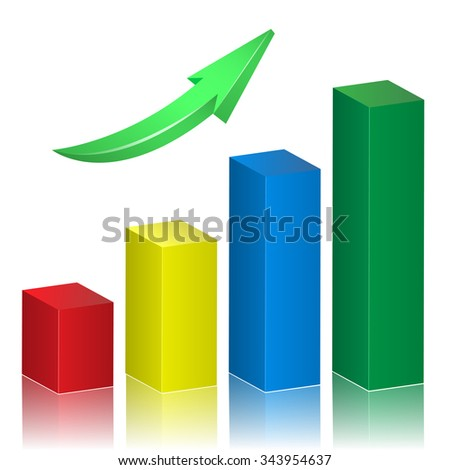 Business Growth Arrow. Progress, increase and growing concept. Raster copy