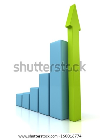 Business Growth Blue Bar Diagram with Green Arrow - stock photo