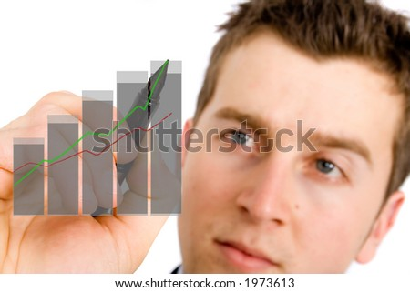 business growth chart being drawn on screen by a business man - stock photo
