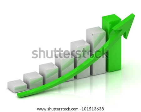 Business growth chart of the bars and the green arrow on a white background