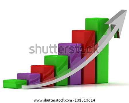 Business growth chart of the color bars and a silver arrow on a white background
