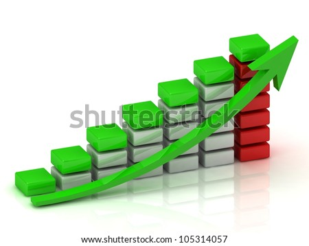 Business growth chart of the white, red and green blocks with a green arrow
