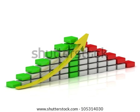 Business growth chart of the white, red and green blocks with a yellow arrow