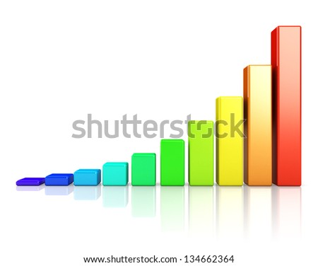Business growth colorful bar diagram - stock photo