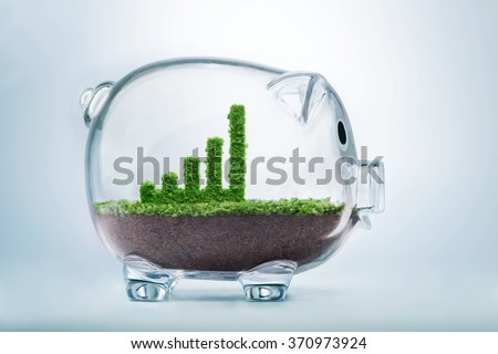 Business growth concept with grass growing in shape of graphic bar inside transparent piggy bank - stock photo