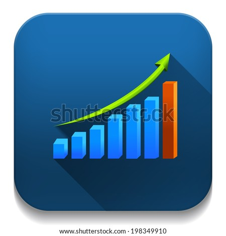 business growth graph With long shadow over app button
