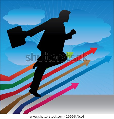 Business Growth, Job Opportunity or Business Solution Concept Present By The Businessman Running on Colorful Arrow in Blue Sky Background - stock photo