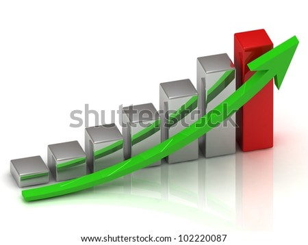 Business growth of silver and red bars and green arrow