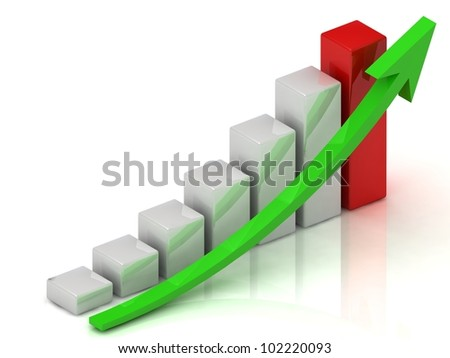 Business growth of white bars and green arrow