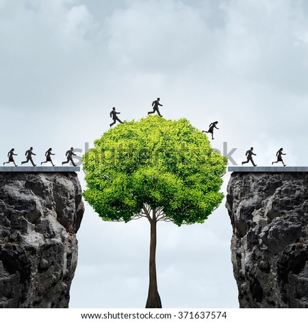 Business growth opportunity concept as a group of business people taking advantage of a tall tree grown to create a bridge to cross over and link two separate cliffs for patience and opportunism. - stock photo