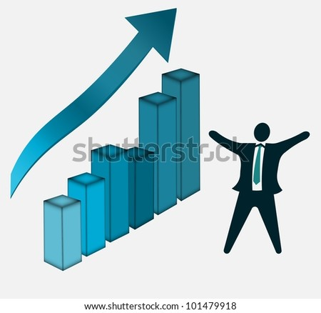Business Growth Success Chart with happy businessmen celebrating success - stock photo