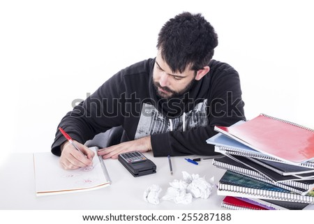 Business guy with calculator - stock photo