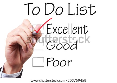 business hand checking the checklist boxes to do list excellent good poor by pen on transparent glass  - stock photo