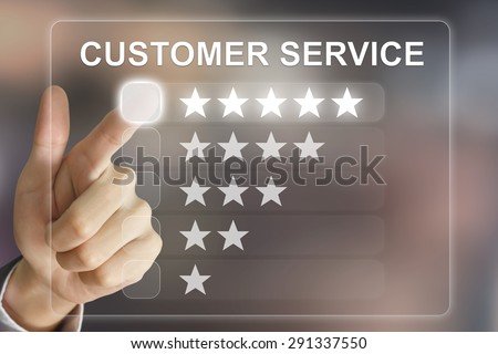 business hand clicking customer service on virtual screen interface - stock photo