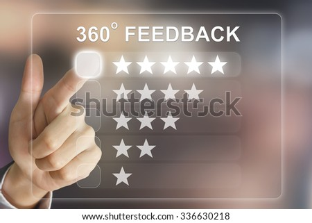 business hand clicking 360 degree feedback on virtual screen interface - stock photo