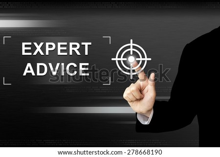 business hand clicking expert advice button on a touch screen interface - stock photo