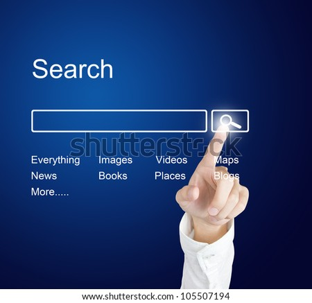 business hand clicking internet search page on computer  touch screen - stock photo