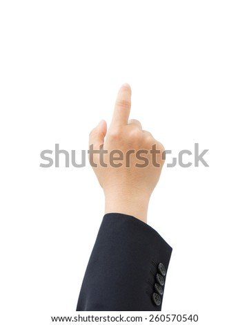 business hand clicking on someting isolated on white - stock photo