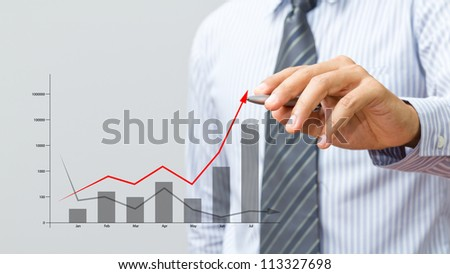Business hand drawing a graph - stock photo