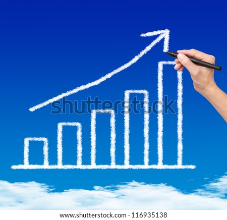 business hand drawing cloud upward trend graph on blue sky - stock photo