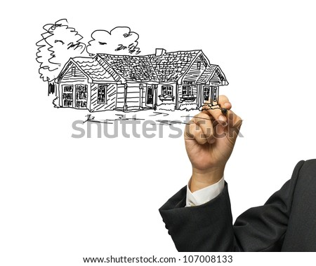 Business hand drawing house on white background