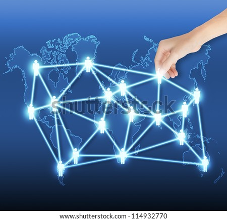 business hand hold global social network or people management connection - stock photo