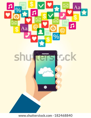 Business hand holding and using smartphone with cloud application and social media icons  illustration