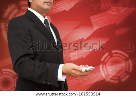 Business Hand holding smart phone with red digital background