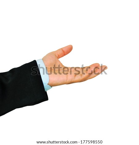 Business hand isolated on a white background  - stock photo