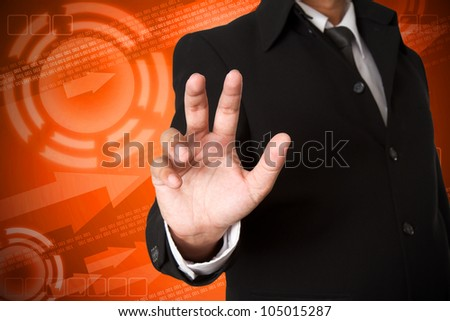 business hand  on digital background