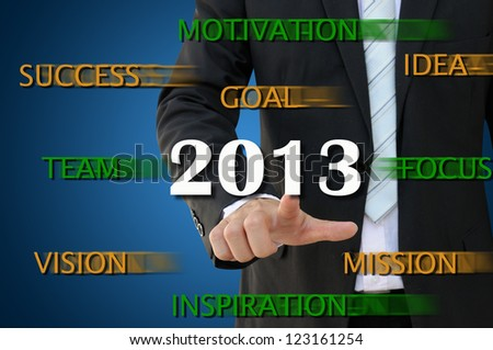 Business hand pointing 2013, the successful year - stock photo
