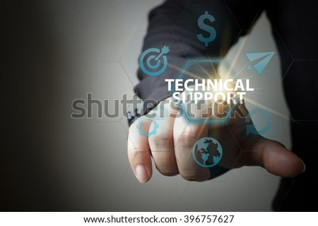 business hand pressing  interface and select TECHNICAL SUPPORT button , business concept , business idea , strategy concept