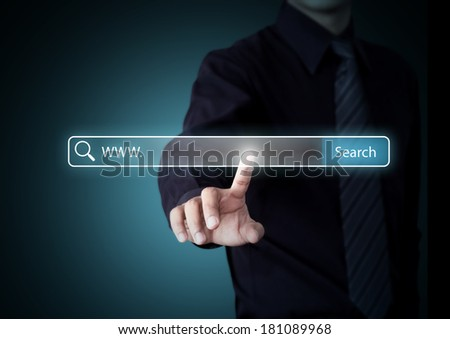 Business hand pressing Search button, Internet technology concept