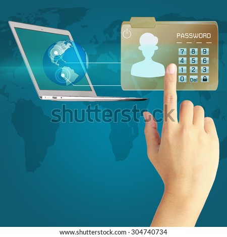 Business hand  protect envelope with top secret confidential file. - stock photo