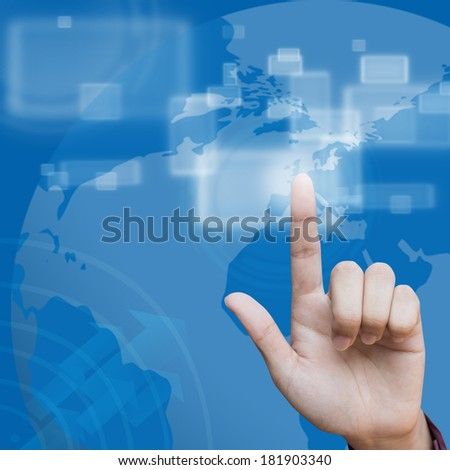 Business hand pushing creative social network button background
