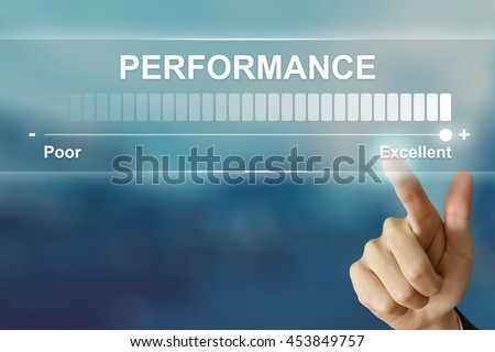 business hand pushing excellent performance on virtual screen interface