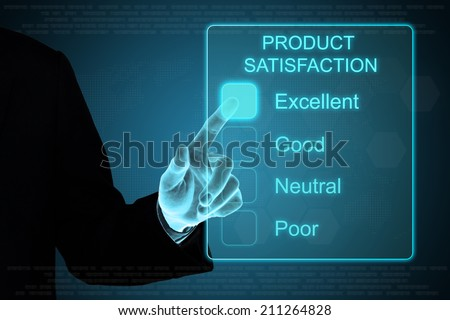 business hand pushing product satisfaction on a touch screen interface  - stock photo