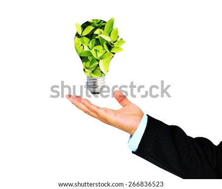 Business Hand receives Green bulb,environment concept