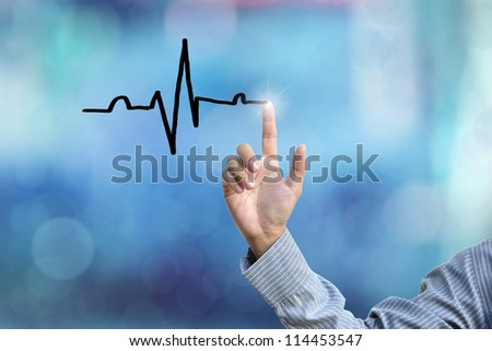 business hand selecting business icon on blue abstract background.