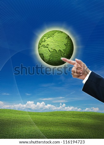 business hand selecting business icon on nature background.
